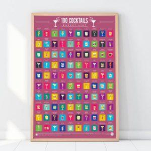 Stírací plakát 100 nejlepších koktejlů - Bucket list